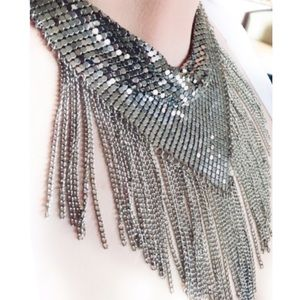 Jewelry - Statement Silver Chainmail Fringe Scarf Necklace